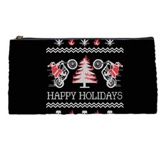 Motorcycle Santa Happy Holidays Ugly Christmas Black Background Pencil Cases by Onesevenart