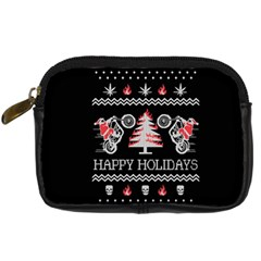 Motorcycle Santa Happy Holidays Ugly Christmas Black Background Digital Camera Cases by Onesevenart