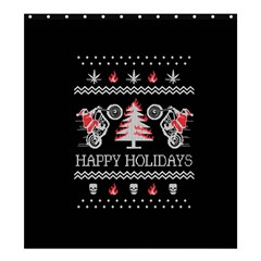 Motorcycle Santa Happy Holidays Ugly Christmas Black Background Shower Curtain 66  X 72  (large)  by Onesevenart