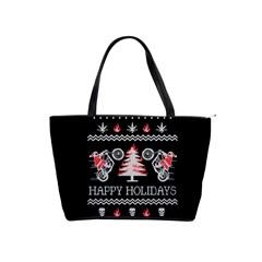 Motorcycle Santa Happy Holidays Ugly Christmas Black Background Shoulder Handbags by Onesevenart