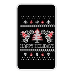 Motorcycle Santa Happy Holidays Ugly Christmas Black Background Memory Card Reader by Onesevenart