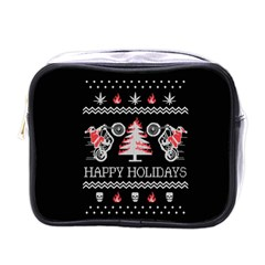 Motorcycle Santa Happy Holidays Ugly Christmas Black Background Mini Toiletries Bags by Onesevenart