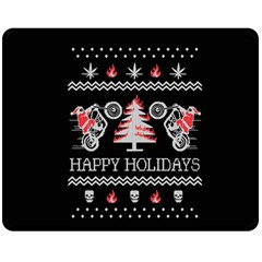 Motorcycle Santa Happy Holidays Ugly Christmas Black Background Fleece Blanket (medium)  by Onesevenart