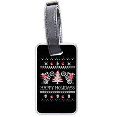 Motorcycle Santa Happy Holidays Ugly Christmas Black Background Luggage Tags (one Side)  by Onesevenart
