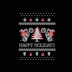 Motorcycle Santa Happy Holidays Ugly Christmas Black Background Magic Photo Cubes by Onesevenart