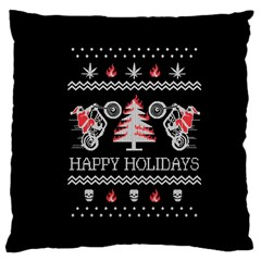 Motorcycle Santa Happy Holidays Ugly Christmas Black Background Large Cushion Case (two Sides) by Onesevenart