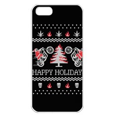 Motorcycle Santa Happy Holidays Ugly Christmas Black Background Apple Iphone 5 Seamless Case (white) by Onesevenart