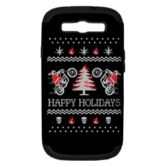 Motorcycle Santa Happy Holidays Ugly Christmas Black Background Samsung Galaxy S Iii Hardshell Case (pc+silicone) by Onesevenart