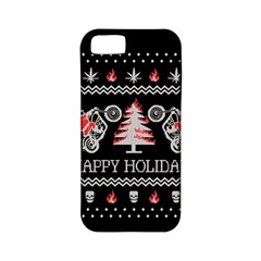 Motorcycle Santa Happy Holidays Ugly Christmas Black Background Apple Iphone 5 Classic Hardshell Case (pc+silicone) by Onesevenart
