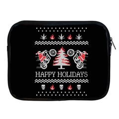 Motorcycle Santa Happy Holidays Ugly Christmas Black Background Apple Ipad 2/3/4 Zipper Cases by Onesevenart