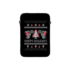 Motorcycle Santa Happy Holidays Ugly Christmas Black Background Apple Ipad Mini Protective Soft Cases by Onesevenart