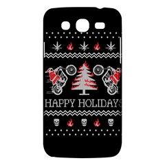 Motorcycle Santa Happy Holidays Ugly Christmas Black Background Samsung Galaxy Mega 5 8 I9152 Hardshell Case  by Onesevenart