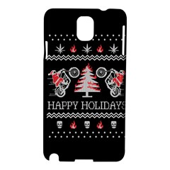 Motorcycle Santa Happy Holidays Ugly Christmas Black Background Samsung Galaxy Note 3 N9005 Hardshell Case by Onesevenart
