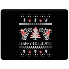 Motorcycle Santa Happy Holidays Ugly Christmas Black Background Double Sided Fleece Blanket (large)  by Onesevenart
