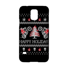 Motorcycle Santa Happy Holidays Ugly Christmas Black Background Samsung Galaxy S5 Hardshell Case  by Onesevenart