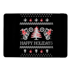 Motorcycle Santa Happy Holidays Ugly Christmas Black Background Samsung Galaxy Tab Pro 10 1  Flip Case by Onesevenart
