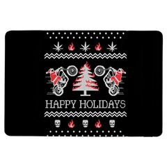 Motorcycle Santa Happy Holidays Ugly Christmas Black Background Ipad Air Flip by Onesevenart