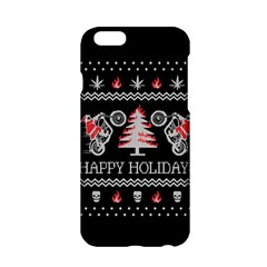Motorcycle Santa Happy Holidays Ugly Christmas Black Background Apple Iphone 6/6s Hardshell Case by Onesevenart