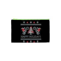 Motorcycle Santa Happy Holidays Ugly Christmas Black Background Cosmetic Bag (xs) by Onesevenart