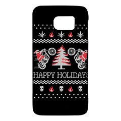 Motorcycle Santa Happy Holidays Ugly Christmas Black Background Galaxy S6 by Onesevenart