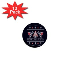 Motorcycle Santa Happy Holidays Ugly Christmas Blue Background 1  Mini Buttons (10 Pack)  by Onesevenart
