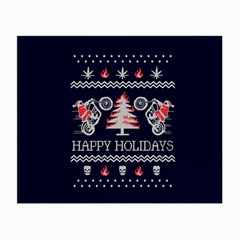 Motorcycle Santa Happy Holidays Ugly Christmas Blue Background Small Glasses Cloth (2 Side) by Onesevenart
