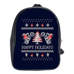 Motorcycle Santa Happy Holidays Ugly Christmas Blue Background School Bags(large)  by Onesevenart
