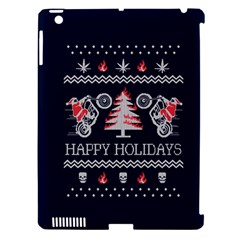 Motorcycle Santa Happy Holidays Ugly Christmas Blue Background Apple Ipad 3/4 Hardshell Case (compatible With Smart Cover) by Onesevenart