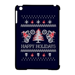 Motorcycle Santa Happy Holidays Ugly Christmas Blue Background Apple Ipad Mini Hardshell Case (compatible With Smart Cover) by Onesevenart