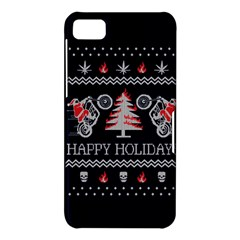Motorcycle Santa Happy Holidays Ugly Christmas Blue Background BlackBerry Z10