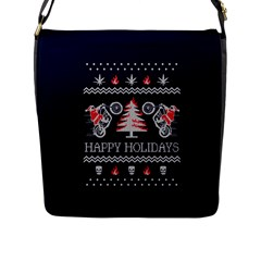 Motorcycle Santa Happy Holidays Ugly Christmas Blue Background Flap Messenger Bag (l)  by Onesevenart
