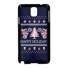 Motorcycle Santa Happy Holidays Ugly Christmas Blue Background Samsung Galaxy Note 3 Neo Hardshell Case (black) by Onesevenart