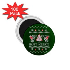 Motorcycle Santa Happy Holidays Ugly Christmas Green Background 1 75  Magnets (100 Pack)  by Onesevenart