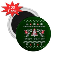 Motorcycle Santa Happy Holidays Ugly Christmas Green Background 2 25  Magnets (100 Pack)  by Onesevenart