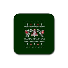 Motorcycle Santa Happy Holidays Ugly Christmas Green Background Rubber Coaster (square)  by Onesevenart
