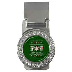Motorcycle Santa Happy Holidays Ugly Christmas Green Background Money Clips (cz)  by Onesevenart