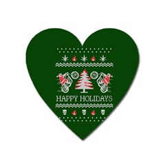 Motorcycle Santa Happy Holidays Ugly Christmas Green Background Heart Magnet by Onesevenart