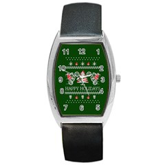 Motorcycle Santa Happy Holidays Ugly Christmas Green Background Barrel Style Metal Watch by Onesevenart