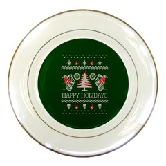 Motorcycle Santa Happy Holidays Ugly Christmas Green Background Porcelain Plates by Onesevenart