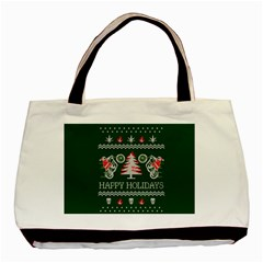 Motorcycle Santa Happy Holidays Ugly Christmas Green Background Basic Tote Bag (two Sides) by Onesevenart