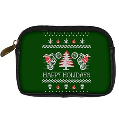 Motorcycle Santa Happy Holidays Ugly Christmas Green Background Digital Camera Cases by Onesevenart