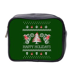 Motorcycle Santa Happy Holidays Ugly Christmas Green Background Mini Toiletries Bag 2 Side by Onesevenart