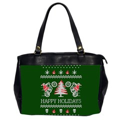 Motorcycle Santa Happy Holidays Ugly Christmas Green Background Office Handbags (2 Sides)  by Onesevenart