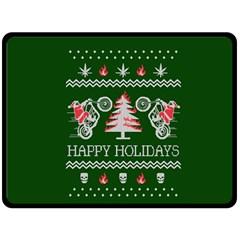 Motorcycle Santa Happy Holidays Ugly Christmas Green Background Fleece Blanket (large)  by Onesevenart