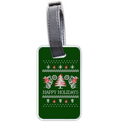 Motorcycle Santa Happy Holidays Ugly Christmas Green Background Luggage Tags (one Side)  by Onesevenart