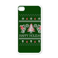 Motorcycle Santa Happy Holidays Ugly Christmas Green Background Apple Iphone 4 Case (white) by Onesevenart