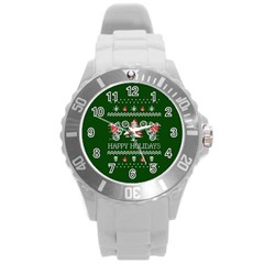 Motorcycle Santa Happy Holidays Ugly Christmas Green Background Round Plastic Sport Watch (l) by Onesevenart