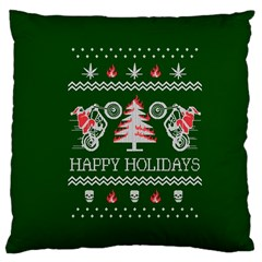 Motorcycle Santa Happy Holidays Ugly Christmas Green Background Large Cushion Case (one Side) by Onesevenart