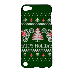 Motorcycle Santa Happy Holidays Ugly Christmas Green Background Apple Ipod Touch 5 Hardshell Case by Onesevenart