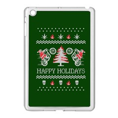 Motorcycle Santa Happy Holidays Ugly Christmas Green Background Apple Ipad Mini Case (white) by Onesevenart